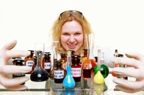 Crazy Chemist Woman With Chemical Glassware Flask Isolated